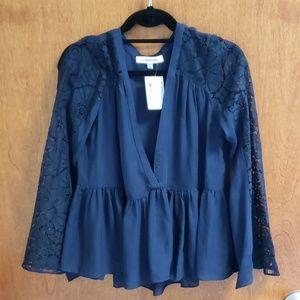 Long sleeve navy blouse